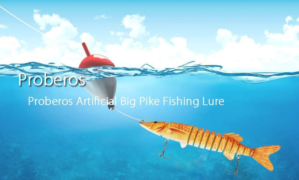 Proberos Artificial 13 Sections Big Pike Fishing Lure with Sharp Hooks
