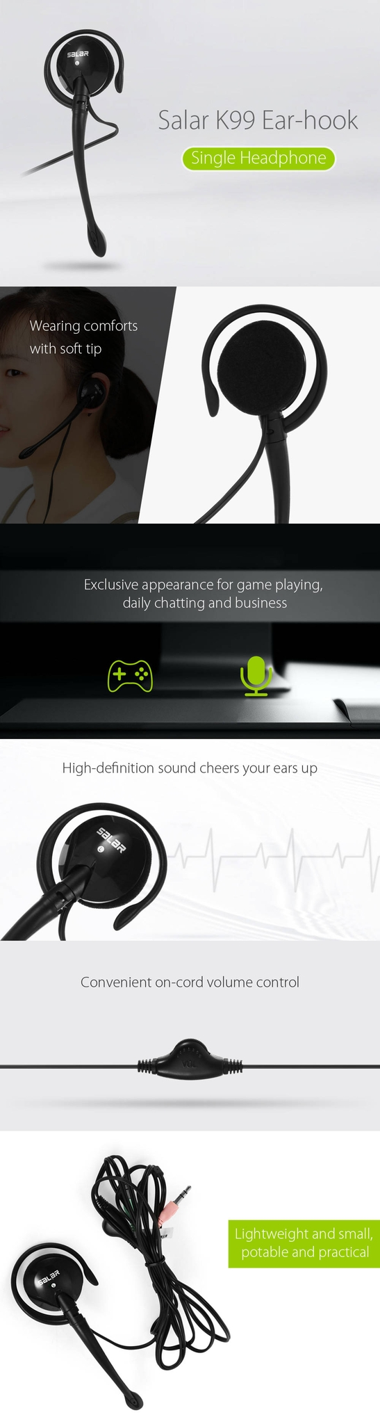 Salar K99 Ear-hook Headset for Business