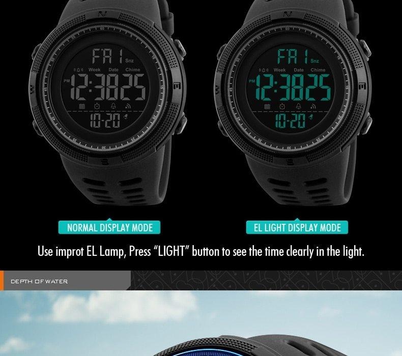 SKMEI Men Watches Sport Watch Electronics Digital LED Quartz Wristwatch Waterproof Women Watches gold 25CM 9