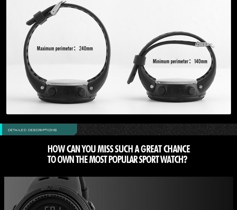 SKMEI Men Watches Sport Watch Electronics Digital LED Quartz Wristwatch Waterproof Women Watches gold 25CM 12