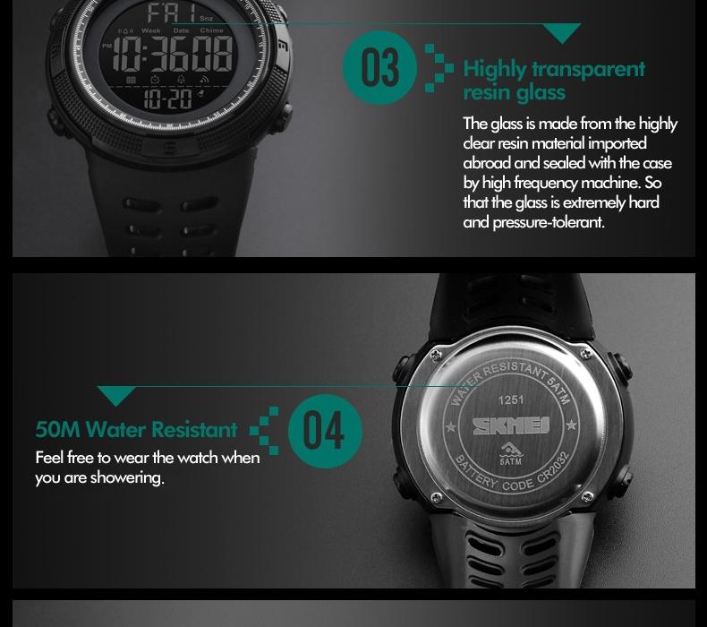 SKMEI Men Watches Sport Watch Electronics Digital LED Quartz Wristwatch Waterproof Women Watches gold 25CM 14