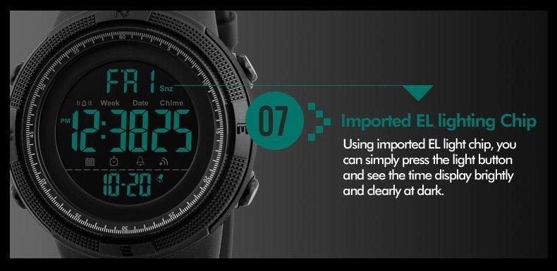 SKMEI Men Watches Sport Watch Electronics Digital LED Quartz Wristwatch Waterproof Women Watches gold 25CM 16