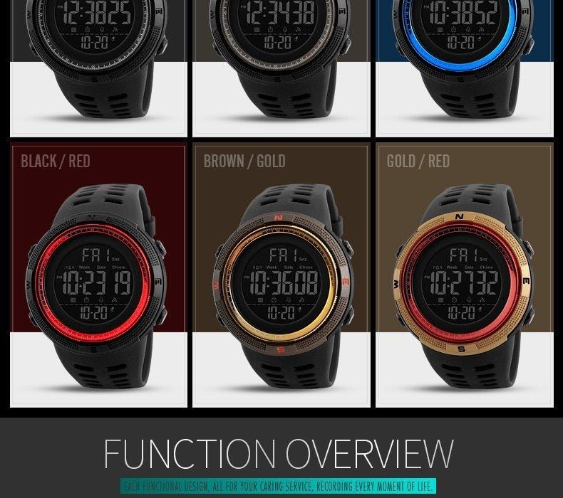 SKMEI Men Watches Sport Watch Electronics Digital LED Quartz Wristwatch Waterproof Women Watches gold 25CM 4