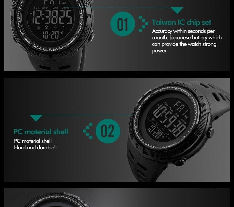 SKMEI Men Watches Sport Watch Electronics Digital LED Quartz Wristwatch Waterproof Women Watches gold 25CM 13