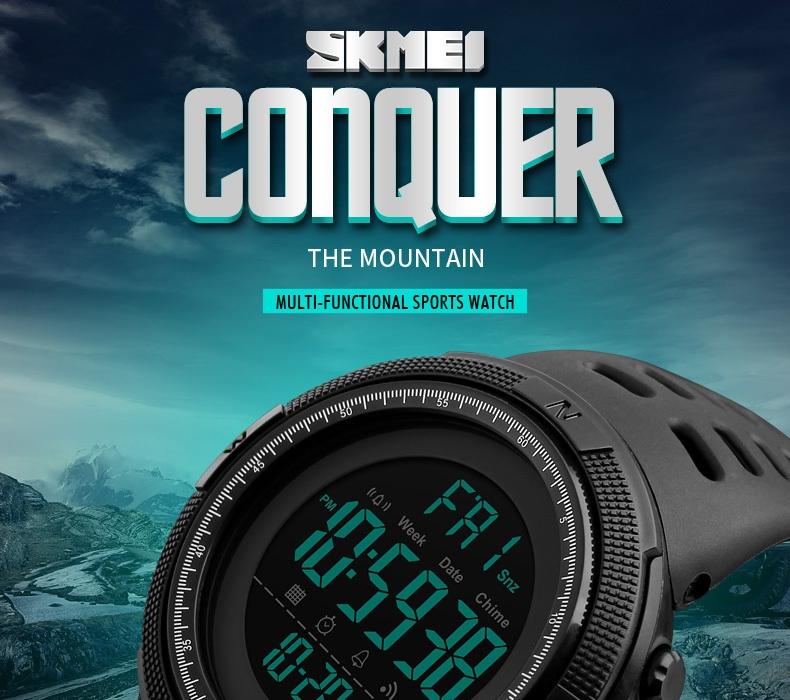 SKMEI Men Watches Sport Watch Electronics Digital LED Quartz Wristwatch Waterproof Women Watches gold 25CM 2
