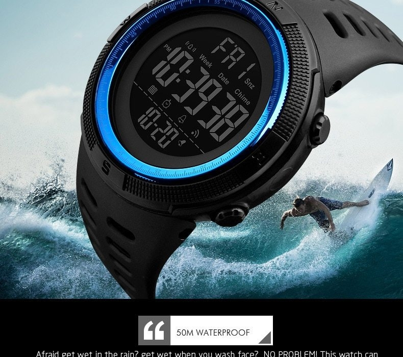 SKMEI Men Watches Sport Watch Electronics Digital LED Quartz Wristwatch Waterproof Women Watches gold 25CM 10