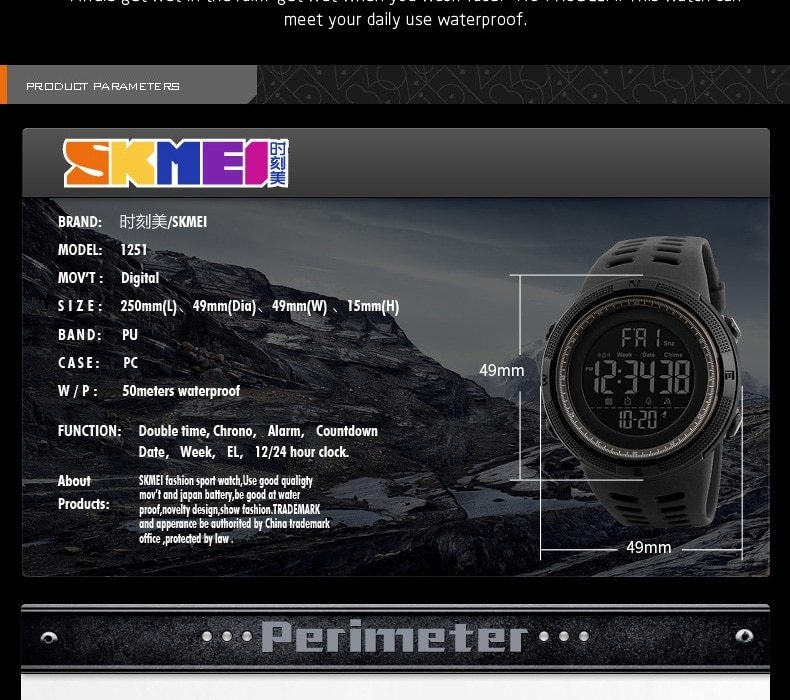 SKMEI Men Watches Sport Watch Electronics Digital LED Quartz Wristwatch Waterproof Women Watches gold 25CM 11