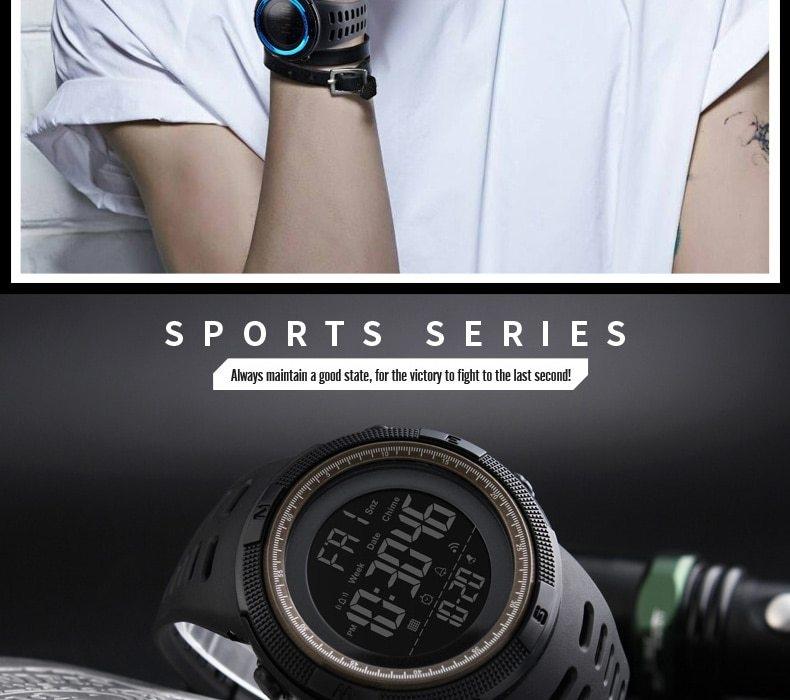 SKMEI Men Watches Sport Watch Electronics Digital LED Quartz Wristwatch Waterproof Women Watches gold 25CM 6