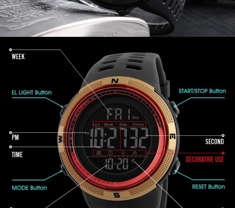 SKMEI Men Watches Sport Watch Electronics Digital LED Quartz Wristwatch Waterproof Women Watches gold 25CM 7
