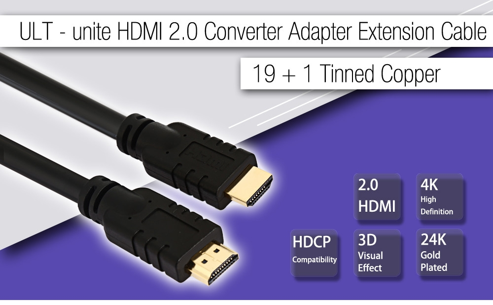 ULT - unite 19 + 1 Tinned Copper HDMI 2.0 Converter Adapter Extension Cable for Television