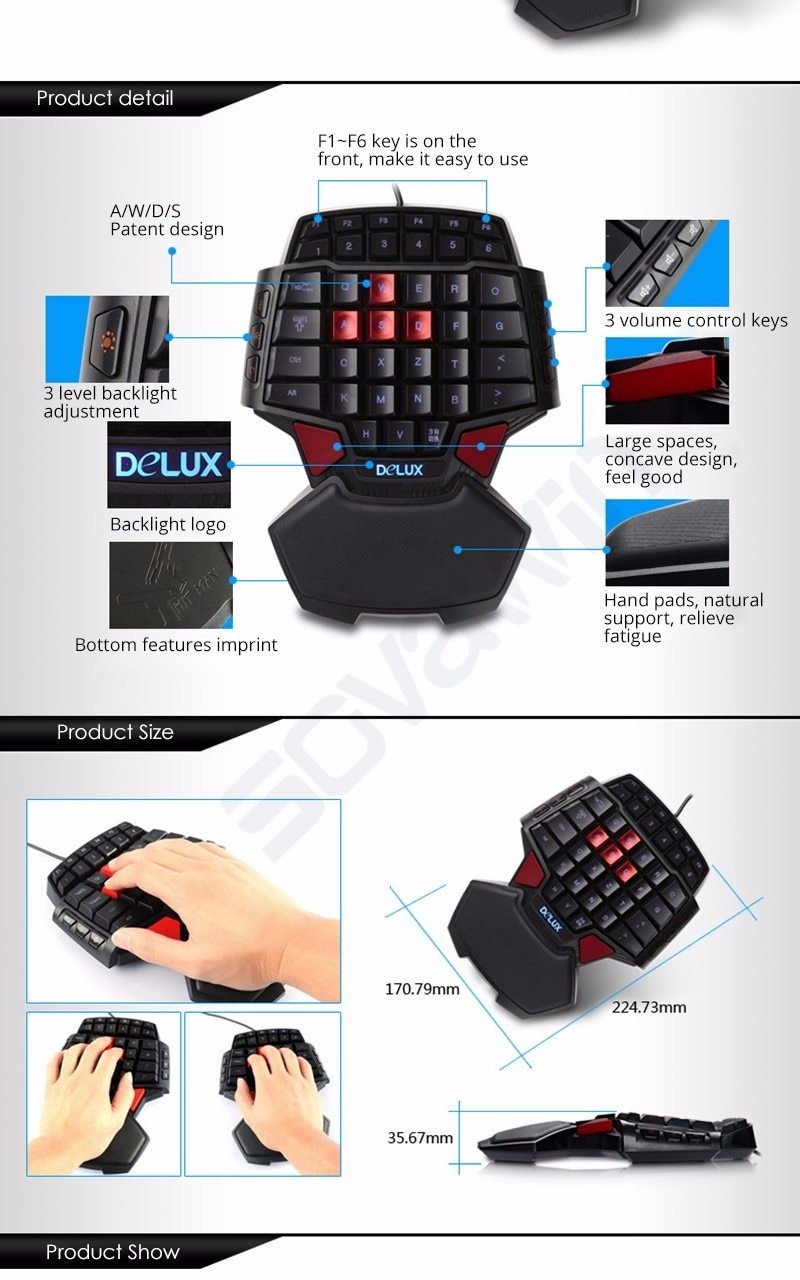 Universal Single Hand Professional Gaming Keyboard LED