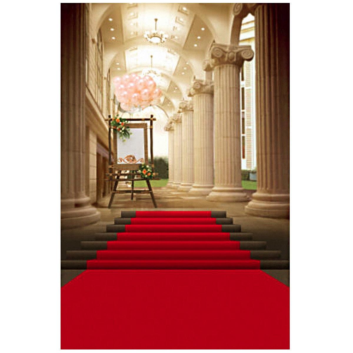 Universal 5x7ft European Palace Red Carpet Wedding Photography Background Studio Backdrop