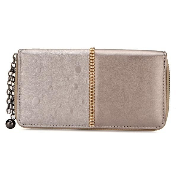 Fashion Rhinestones Women Retro Long Zipper Purse Clutch Wallet