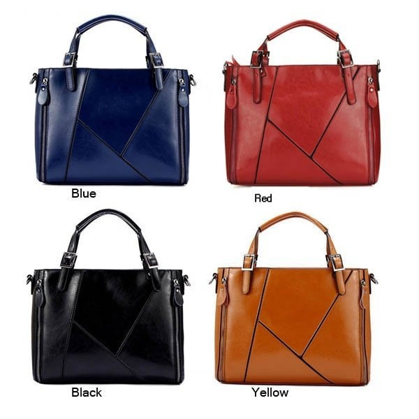 Fashion Women Genuine Leather Handbags Cowhide Patchwork Shoulder Bags