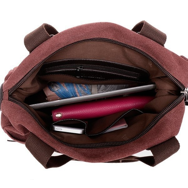 Large Capcity Of Multi Pocket Canvas Handbags