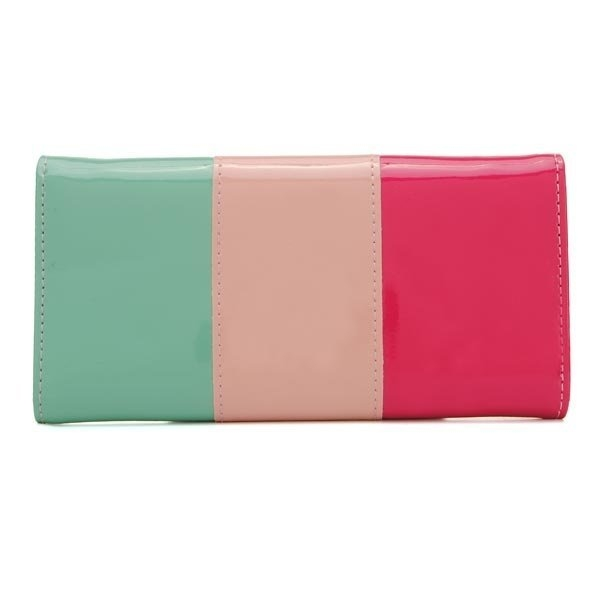 Women Long Design PU Leather Candy Color Block Wallet
