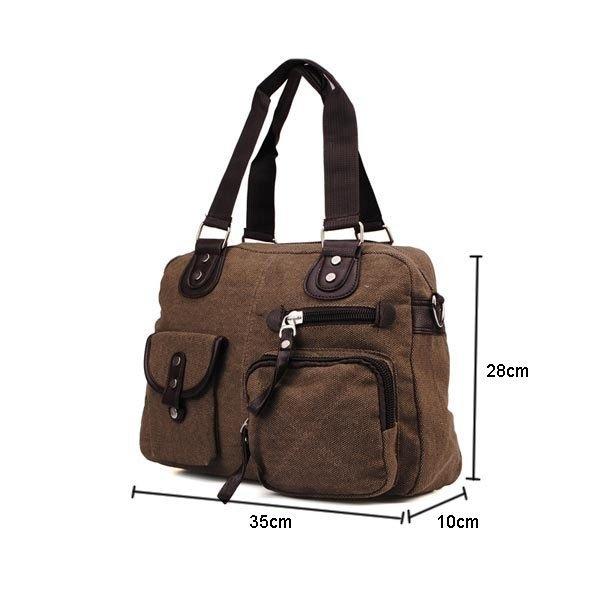 Contrast Color Canvas Shoulder Bag With Ample Pocket