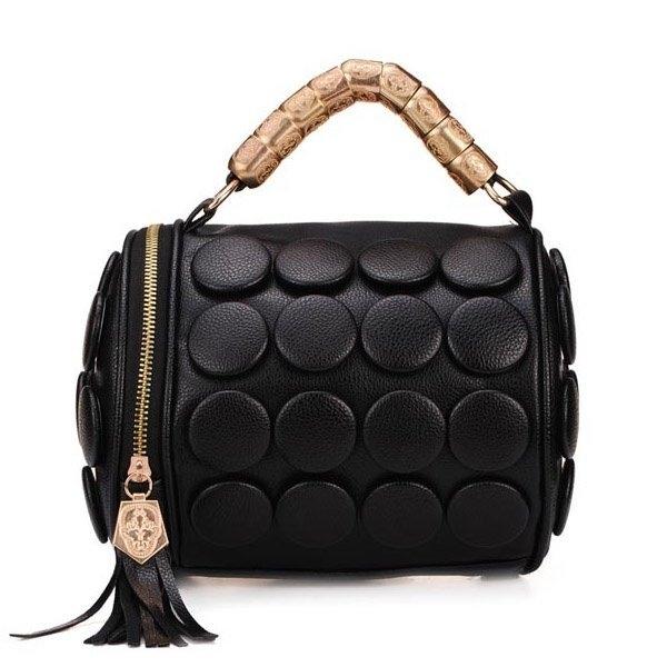 Fashion Punk Style Buttons Women Bucket Bag Black Cross Body Bag