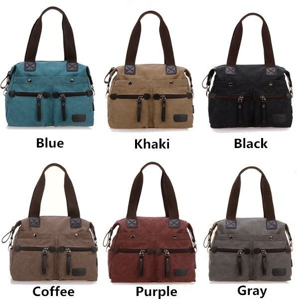 Color Show Of Multi Pocket Canvas Handbags