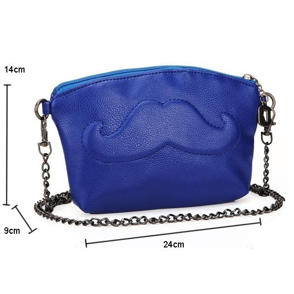 Women Leather Mustache Chain Bag Shouler Crossbody Bag