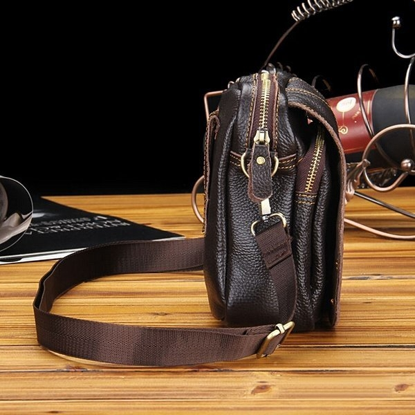 Men's PU Leather Leisure Bags Business Small Shoulder Bag