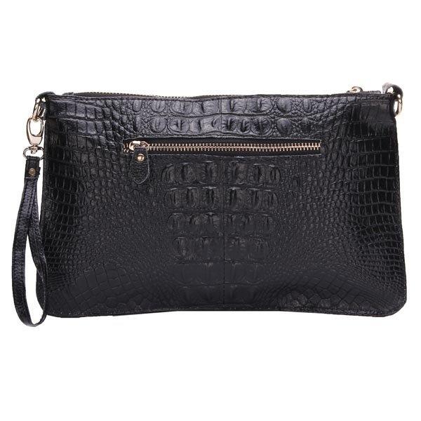 Women Genuine Leather Crocodile Pattern Shoulder Bag Clutch Bag