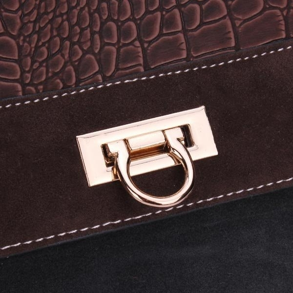 Retro Patchwork Color Geometric Pattern Cowboy Handbag Crossbody Bag