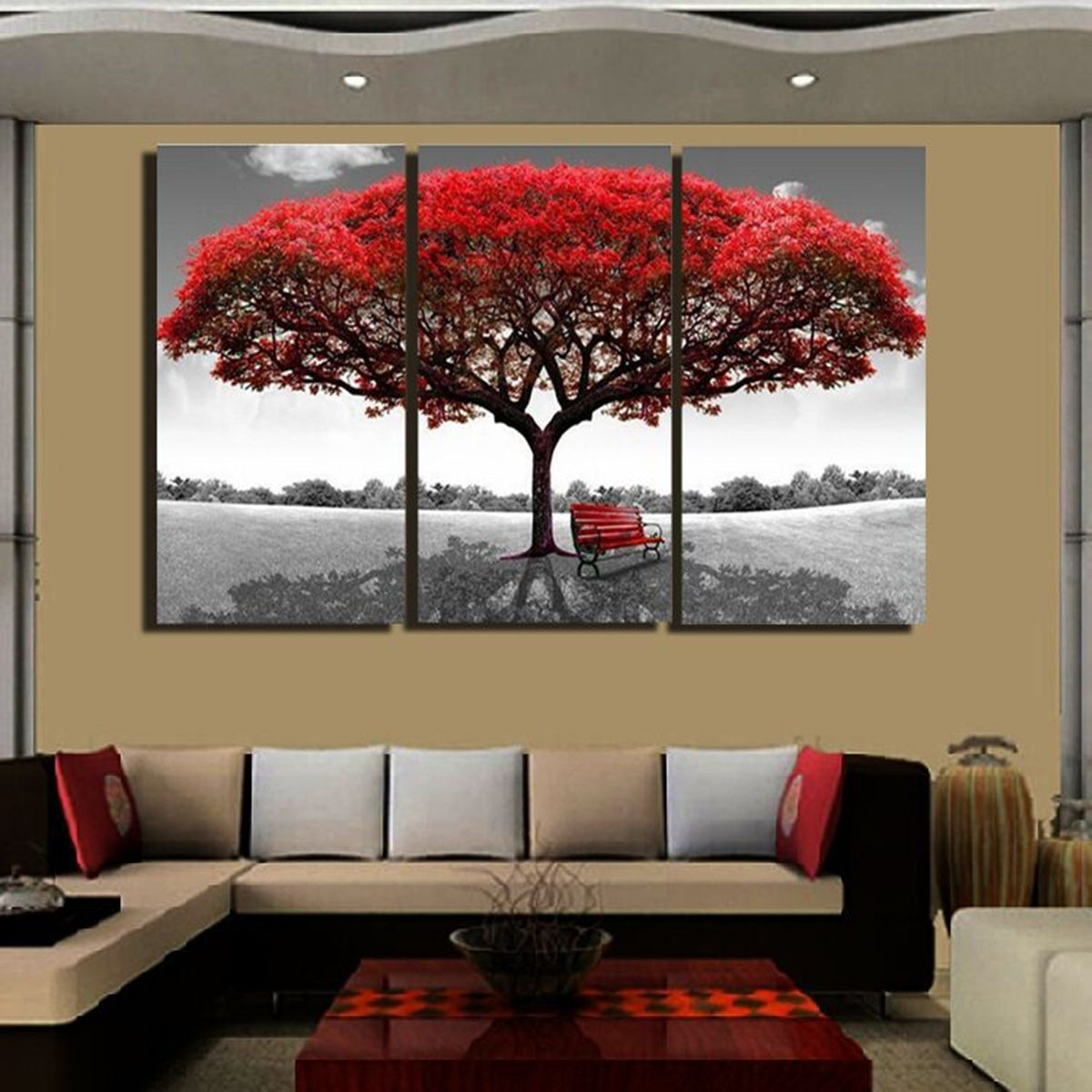 Universal Large 3pc Red Tree Hd Canvas Print Home Decor Wall Art Painting Picture No Frame