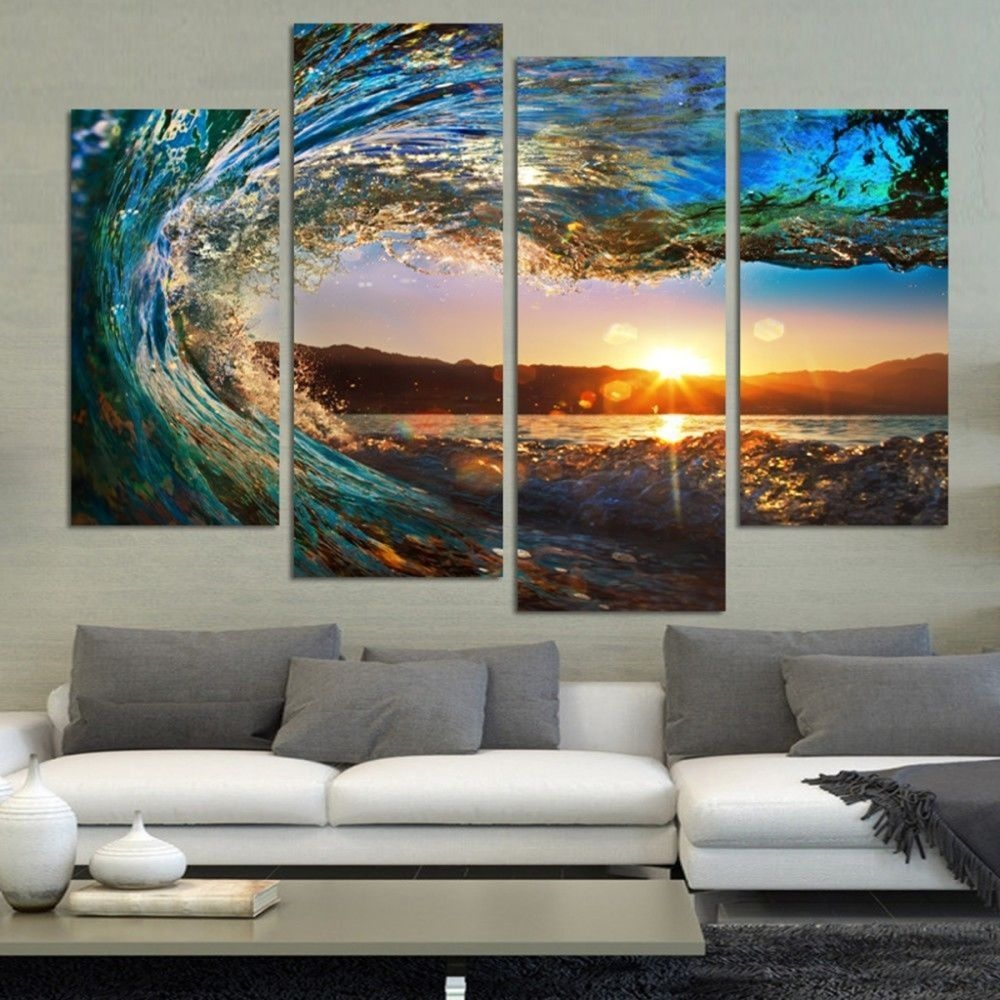Ocean Wave Surf Canvas Print Painting Framed Home Decor Wall Art Poster 5Pcs