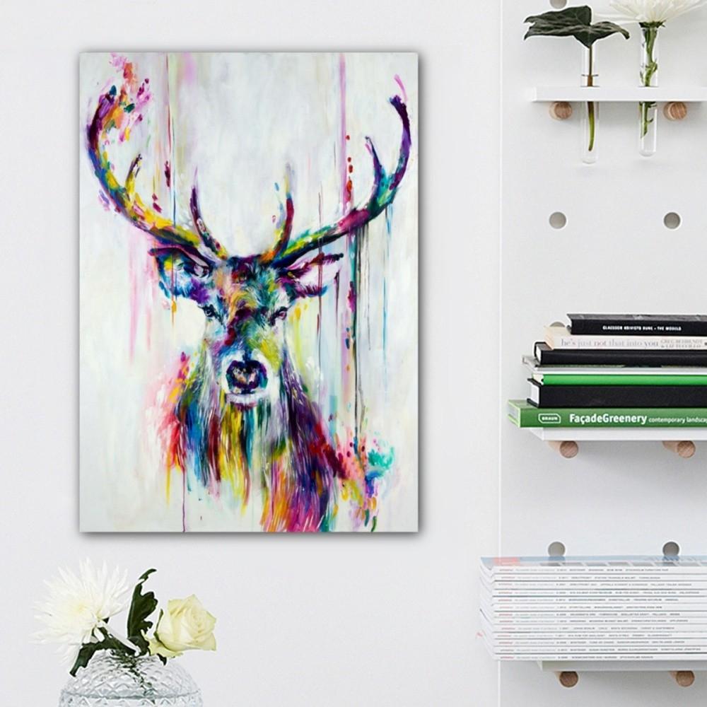 Order Unframed Watercolour Canvas Print Painting Deer Wall Art Home