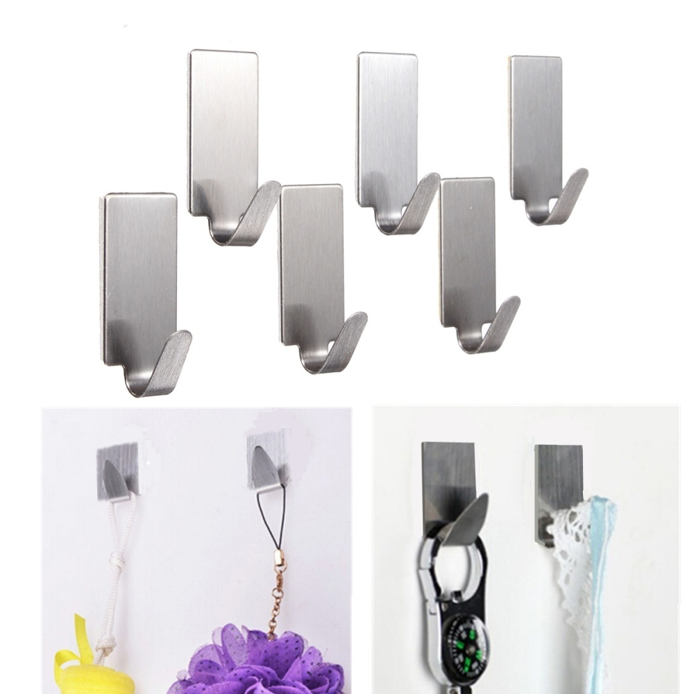 Universal 6X Self Adhesive Home Kitchen Wall Door Stainless Steel Stick Holder Hook Hanger