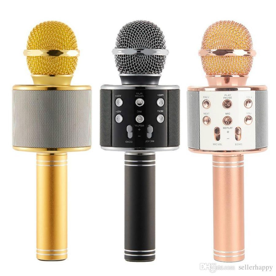 WS-858 Wireless Speaker Microphone Portable Karaoke Hifi Bluetooth Player for iphone 6 6s 7 ipad Samsung Tablets PC