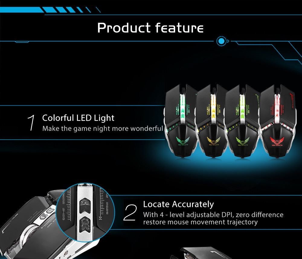 Zerodate ZERODATE X700 Wired Gaming Mouse With LED Light