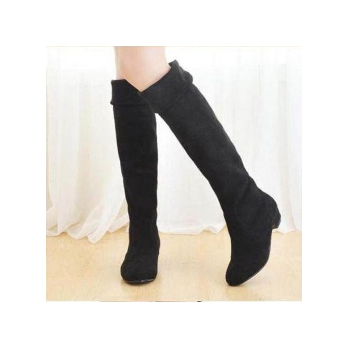 50f5b4422539c Womens High Heels Suede Boots Thigh High Slouch Over The Knee Pull On  Stilettos BLACK
