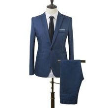 ab613584aecbb Men Slim Fit Business Leisure One Button Formal Two-Piece Suit For Groom  Wedding-