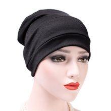 b10890f3a0e Unisex Cotton Solid Color Muslim Bonnet Hat Skullies Beanies Hedging Cap  Turban-Black
