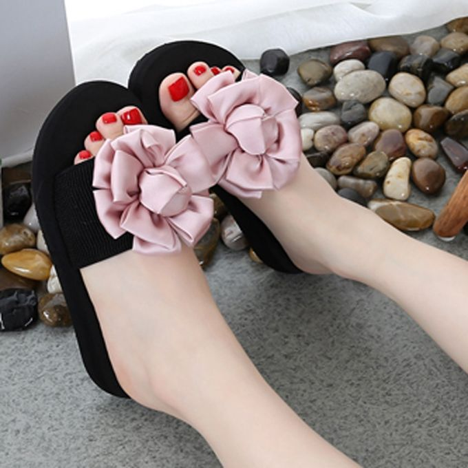 2d691ddf6d08 Women Flower Summer Sandals Slipper Indoor Outdoor Flip-flops Beach Shoes  Pink