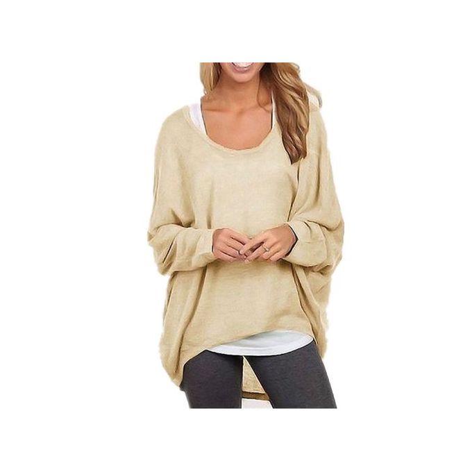 dbb2027c205863 ZANZEA Women's Sexy Long Batwing Sleeve Loose Pullover Casual Top Blouse T- Shirt Beige