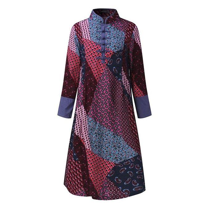 e744aef6abf Celmia S-5XL Womens 100% Cotton Vintage Tunic Kaftan Linen Loose Long  Sleeve Midi