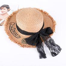 f2cceda2e45721 Women Ladies Hat Straw Hat Summer Small Fresh Alphabet Embroidery Fashion Straw  Hat Female Korean Lace