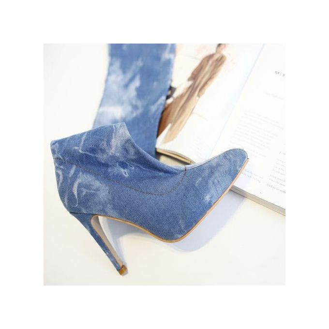 Women Denim Over Knee High-Heel Boots - Light Blue