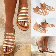 41499037f Hiamok Women  039 s Ladies Spring Summer Flat Heel Strap Slippers Beach  Sandals Roman
