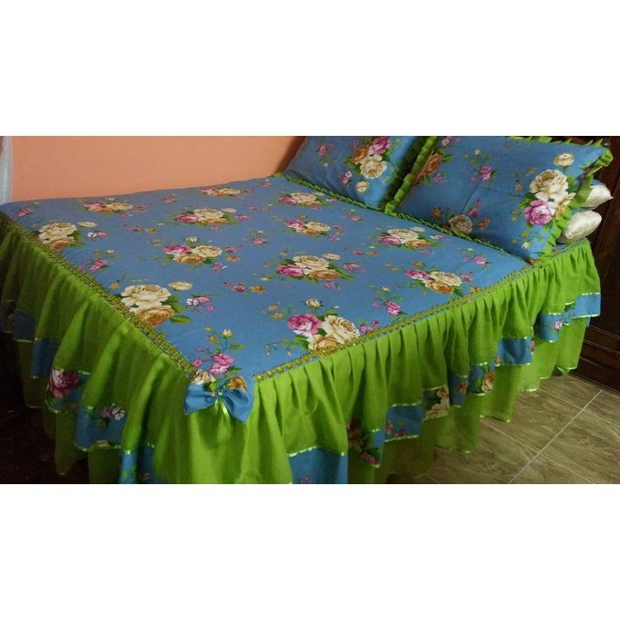 Bed Sheet Set – 5 Pcs – Blue / Lime Green –  مصر