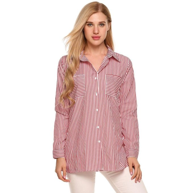 68ecee801 Long Sleeve Turn Down Collar Button Down Shirts Striped Loose Casual Tops- Red White