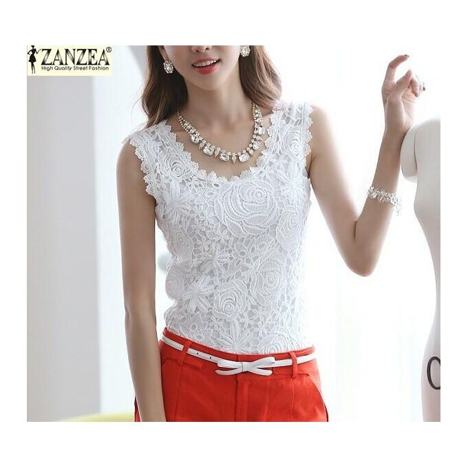9769468a677787 ZANZEA Plus Size S-4XL Womens Lace Tank Top Sleeveless T-shirt Vest Blouse