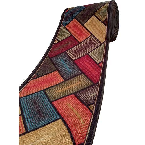 Machine Woven Corridor Rug -Parquet - 1m - Multicolor