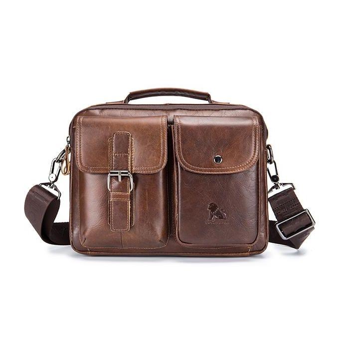 Mens Leather Messenger Bag Retro Laptop Bag Business Briefcase Shoulder Bag eb3d2e9efffa