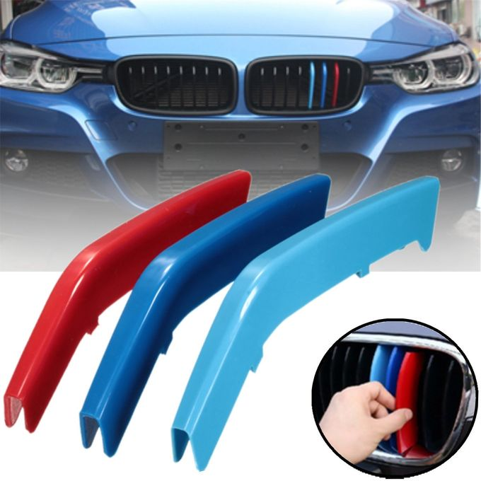 Details About 3x Front Grill Bar Cover Decal 3 Color Buckle Sticker For Bmw 3 Series F30 13 15 Red Blue Sky Blue M Color