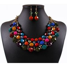 6ffdb9329eef New Women Necklace Fashion Ethnic Style Necklace Bohemia Set Of Chains  Colorful Pearls Earring Necklace Set