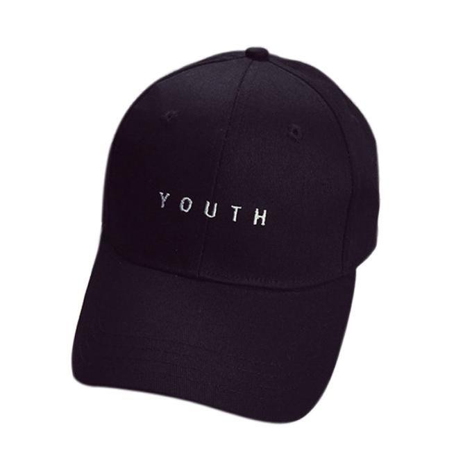 Tectores Fashion Trend Embroidery Cotton Baseball Cap Boys Girls Snapback  Hip Hop Flat Hat Black 04d8d7e7a21